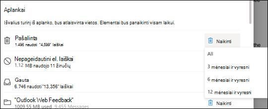 """""""Outlook.com"""" saugyklos parametrai."""