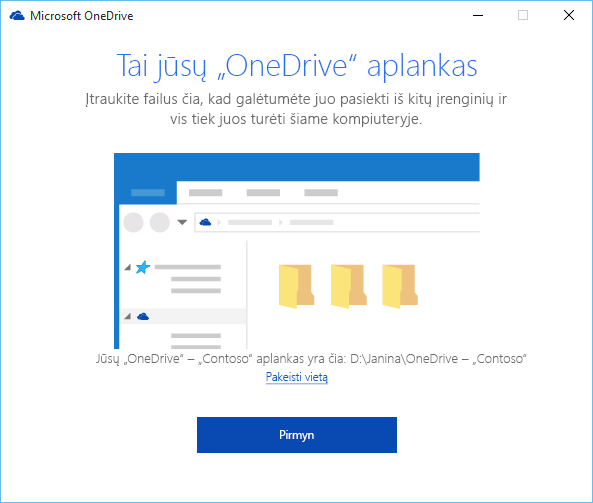 """Vediklio """"Sveiki! Čia """"OneDrive"""" ekrano """"Tai yra jūsų """"OneDrive"""" aplankas"""" kopija"""