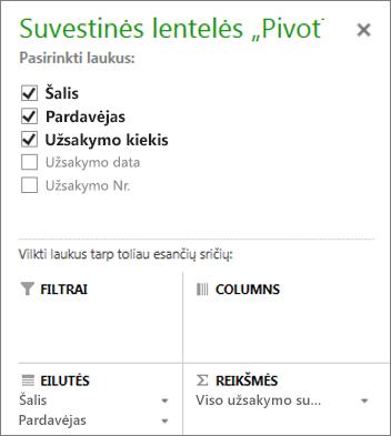 """Suvestinės lentelės """"PivotTable"""" laukų sąrašas"""
