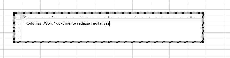 """Įdėtąjį """"Word"""" dokumentą galite redaguoti tiesiogiai """"Excel""""."""