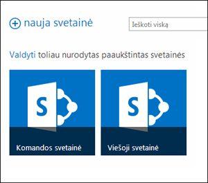 """""""Office 365"""" svetainės puslapis, kuriame rodomos komandos svetainės ir viešosios žiniatinklio svetainės išklotinės dalys"""