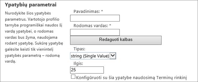 """Ypatybių parametrų dalyje """"Admin"""" vartotojo profilį"""