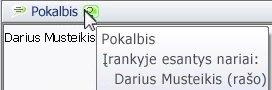 Iškylantis teksto pokalbių indikacijos langas