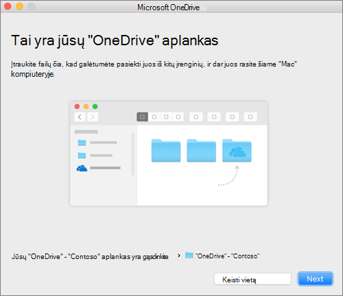 """Vediklio """"Sveiki! Čia """"OneDrive"""" ekrano """"Tai yra jūsų """"OneDrive"""" aplankas"""" """"Mac"""" kompiuteryje, pasirinkus aplanką, ekrano nuotrauka"""