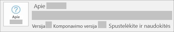 Ekrano kopija, kurioje rodoma, kad versija ir komponavimo versija yra Spustelėkite ir naudokitės įdiegtis