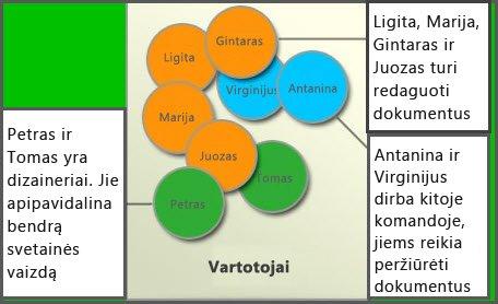 Skirtingų vartotojų grupių diagrama: Nariai, Svetainių kūrėjai ir Lankytojai