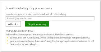 Dialogo lango Įtraukti vartotoją į šią prenumeratą ekrano kopija.