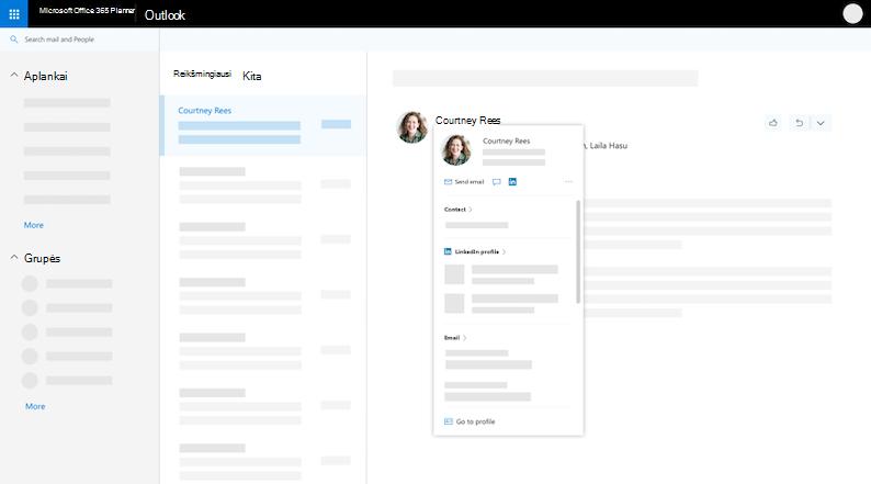 """Profilio kortelę programoje """"Outlook"""" žiniatinklyje - išplėstas vaizdas"""