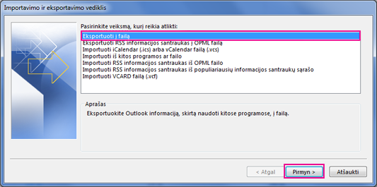 """""""Outlook"""" eksportavimo vediklis – Eksportuoti į failą"""