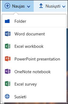 """""""Office 365"""" kurti naują aplanką arba dokumento"""