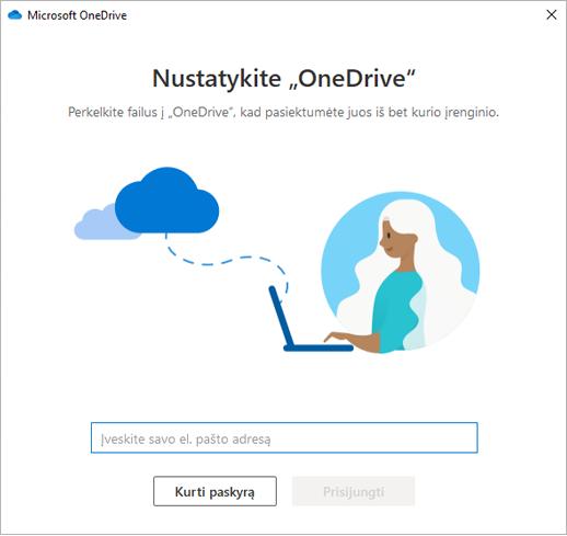 """Ekrano nuotrauka, vaizduojanti """"OneDrive"""" sąrankos pirmąjį puslapį."""