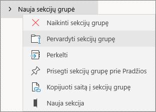 """Sekcijos programoje pervardijimas """"OneNote"""", skirtoje """"Windows 10"""""""