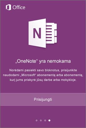 """""""OneNote"""" programos prisijungimo ekranas"""