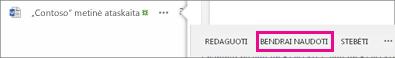 Bendrinimo mygtuko ekrano kopija