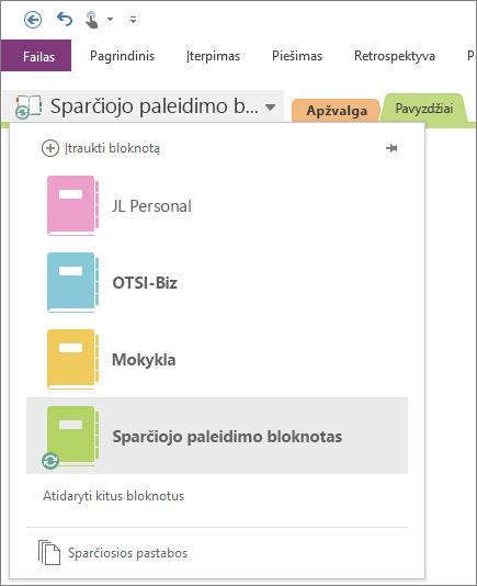 Ekrano nuotrauka, vaizduojanti atidarytą bloknotų sąrašą.