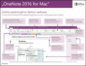 """""""OneNote 2016"""", skirtos """"Mac"""", greito pasirengimo darbui vadovas"""