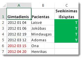 """""""Excel"""" sąlyginio formatavimo pavyzdys"""
