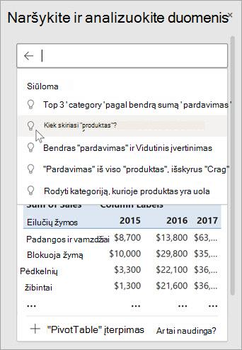 """Idėjos programoje """"Excel"""" pateiks jums siūlomus klausimus pagal jūsų duomenų analizę."""