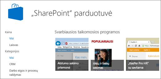 """Rodyti """"SharePoint"""" parduotuvės programėlės pasirinkimą"""