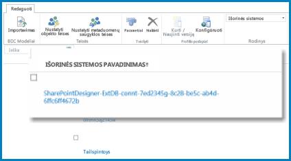 Juostelės AQ ekrano nuotrauka, kai įjungtas SPO BCS Išorinis rodinys.