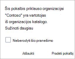 Ekrano nuotrauka, rodanti pranešimą, kad pokalbis yra organizacijos pokalbis