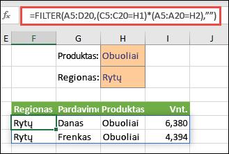 """Naudokite FILTER su daugybos operatoriumi (*) norėdami pateikti visas reikšmes masyvo diapazone (A5:D20), kuriuose būtų """"Obuoliai"""" ir """"Rytų regionas""""."""