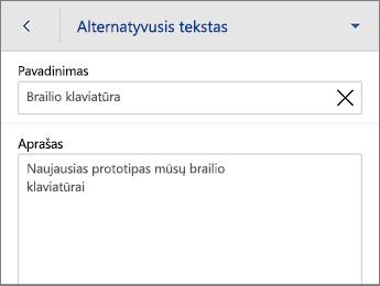 Alternatyviojo teksto komanda Paveikslėlio skirtuke