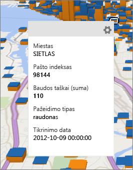 Duomenų kortelė, kurioje rodomos duomenų elementas