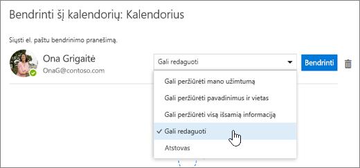 Dialogo lango Bendrinti šį kalendorių ekrano kopija.