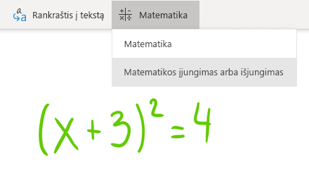 """""""OneNote"""", skirtos """"Windows 10"""", mygtuko matematinė parinktis"""
