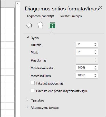 Galite keisti diagramos dydį, dialogo lange Formatuoti diagramos sritį