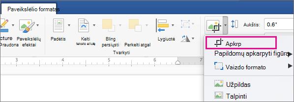 Skirtuko paveikslėlio formatavimas pažymėta apkarpyti.