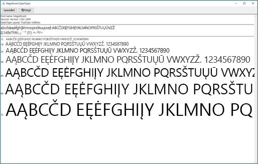 """Naudodami """"Windows"""" šriftų peržiūros priemonę galite peržiūrėti ir įdiegti šriftus """"Windows"""" kompiuteryje"""