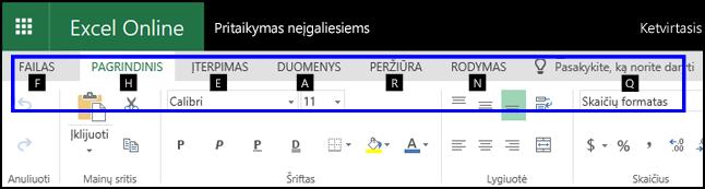 """""""Excel Online"""" juostelė, kurioje rodomas skirtukas Pagrindinis ir sparčiųjų klavišų patarimai visuose skirtukuose"""