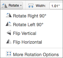 Office for Mac Shape Rotate Menu