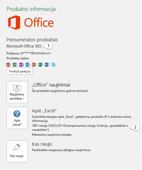Puslapis, kuriame yra vartotojo ir produkto informacija