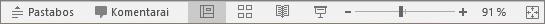 """Rodomi rodinių mygtukai programos """"PowerPoint"""" ekrano apačioje"""