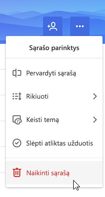 Ekrano kopija, rodanti pasirinktą parinktį Naikinti sąrašą