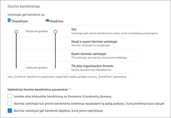 """Išorinio bendrinimo parametrų puslapyje bendrinimas """"OneDrive"""" administravimo centro"""