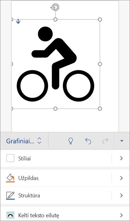 SVG vaizdą pasirinkta, rodanti grafikos skirtukas juostelėje