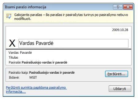 Dialogo langas Išsami parašo informacija