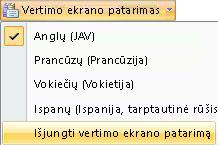Ekrano patarimų vertimo išjungimas
