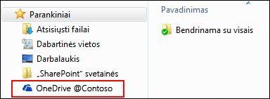 """Sinchronizuota """"OneDrive"""" verslui biblioteka """"Windows"""" parankinių sąraše"""
