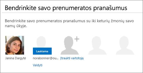 """Puslapio """"Office 365"""" dalies """"Prenumeratos pranašumų bendrinimas"""" ekrano kopija, kurioje rodoma, kad yra laukiantis bendrintas vartotojas."""