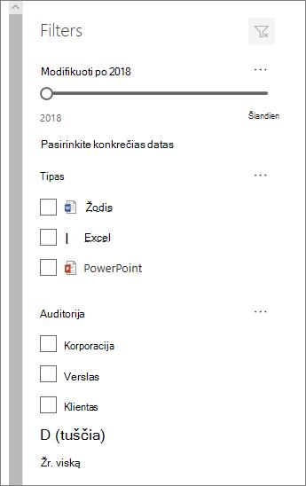 Dokumentų filtro sritis