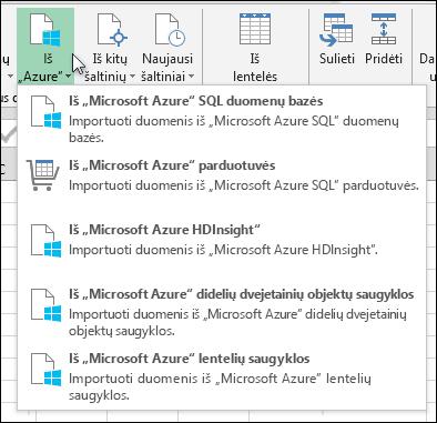 Power Query importuoti iš Azure dialogo langas