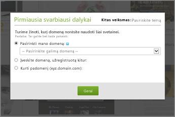 """""""GoDaddy"""" pirmiausia pasirinkite domeną iš išplečiamojo sąrašo"""