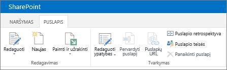 """""""SharePoint 2013"""" juostelė viršutiniame kairiajame ekrano kampe"""