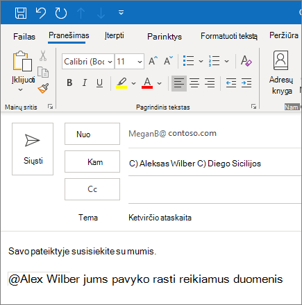"@Mention funkcija programoje ""Outlook"""