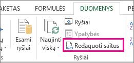 Redaguoti saitus skirtuke Duomenys
